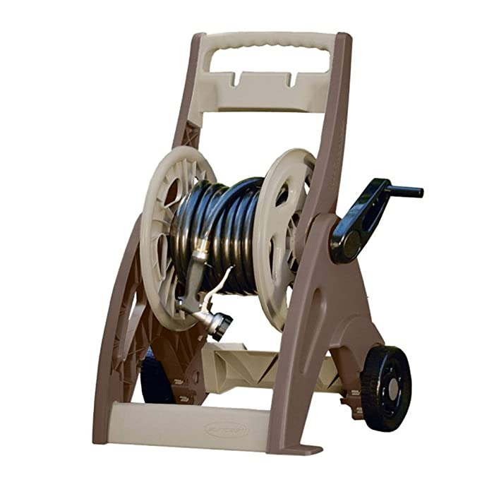 Suncast 175' Hosemobile Garden Hose Reel Cart - Garden Hose Caddy with Large Easy to Grip Crank for Garden, Lawn and Patio - Easylink System for Watertight Connection - Bronze and Taupe