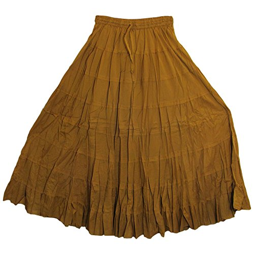 Yoga Trendz Missy Plus Bohemian Gauze Cotton Tiered Crinkled Broomstick Long Skirt Ombre (Solid Brown)