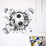 MQ 3D Football Soccer Broken Wall Hole View Home Decal Wall Stickers Print Poster for Kids Room Sport Boys Bedroom Decorative Mural