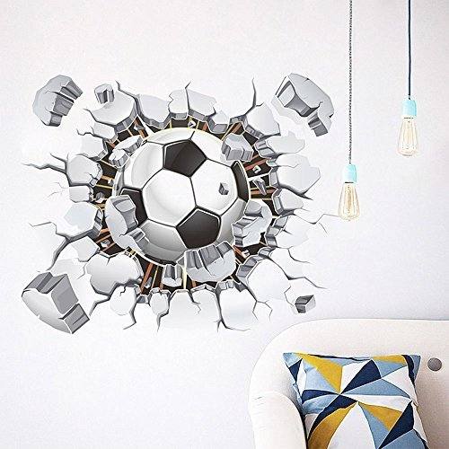 MQ 3D Football Soccer Broken Wall Hole View Home Decal Wall Stickers Print Poster for Kids Room Sport Boys Bedroom Decorative Mural by Toonol