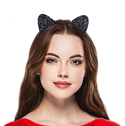 Halloween Accessories Cat (Lux Accessories Black Cat Ear Halloween Costume Accessory Headband Kids Adults)