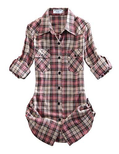 Match Women's Long Sleeve Plaid Flannel Shirt #2021(X-Large, Checks#9) ()