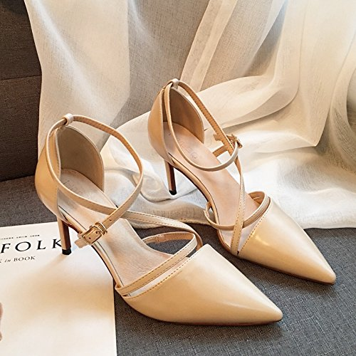 De de Albaricoque Ajunr Moda con Sandalias 39 zapatos 37 Las tiras Transpirable transversales Commuter señaló los zapatos los temperamento tacón 8cm Sexy Bien elegante alto 8B7qrB