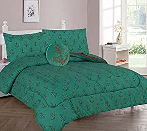 Elegant Home Nautical Coastal Sailor Anchor Design 6 Piece Twin Size Comforter Bedding Set for Boys / Kids Bed In a Bag With Sheet Set & Decorative TOY Pillow # Hanger (Twin)