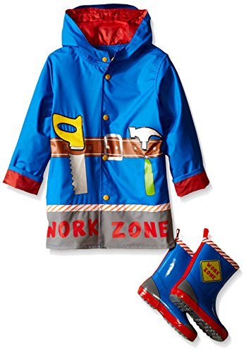 Wippette Boys' Work Zone Rain Jacket and Boot Set, Royal, 2T
