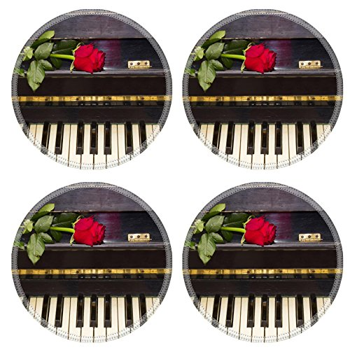 Luxlady Natural Rubber Round Coasters IMAGE ID: 24239473 one red rose on vintage black piano (Vintage Piano Stool compare prices)