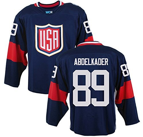 2016 World Cup Men's USA #89 Justin Abdelkader Navy Ice Hockey Jersey