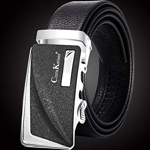 Men's Ratchet Genuine Leather Dress Belt, Business Belt Gift Box Waist Belt-black J 110×3.5cm(43×1.5inch) ()
