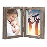 CECIINION Wood Photo Frame Shadow Box 4x6 Hinged Double Picture Frames,Glass Front,Fit for Stands Vertically on Desk Table Top (Grey Color)