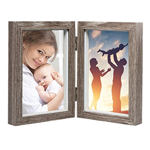 CECIINION New MDF Wood Photo Frame Shadow Box 4x6 Hinged Double Picture Frames,with Glass Front, Fit for Stands Vertically on Desk Table Top (Grey Color)