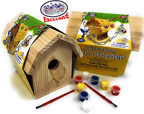 Matty's Toy Stop Paint-A-Barn Wooden Birdhouse & Bird Feeder (Includes Paints & Brushes) Gift Set Bundle - 2 Pack