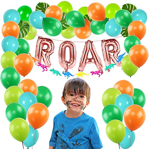 - Dinosaur Party Supplies, Dino Party Decorations Green and Orange Latex Balloons ROAR Banner Dinosaur Garland Tropical Palm Leaves for Kids Dinosaur Party Favors Jungle theme Party