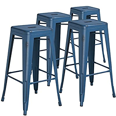 Flash Furniture 30'' High Backless Crystal Teal-Blue Indoor-Outdoor Barstool-P