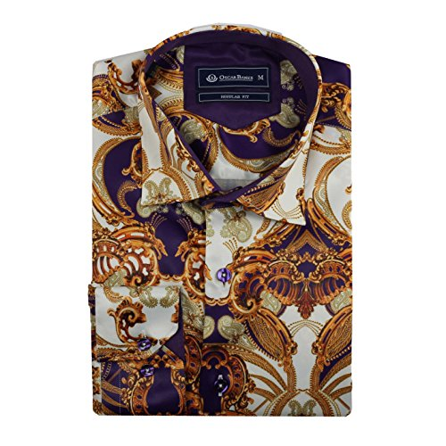 Oscar Banks Mens Gold Purple White Silk Feel Satin Paisley Baroque Print Designer Dress (Paisley Print Silk Dress)