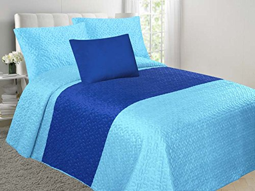 (Allison 4-Piece Soft Velvet Touch Quilted Bedspread Multi-Color Bed Cover Set OVERSTOCK SALE! (Turquoise & Royal Blue, Queen))