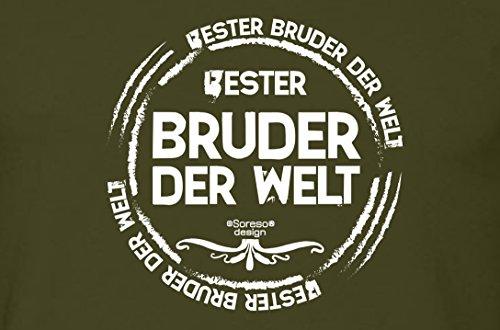 Bruder Geschenkeset Fun-T-shirt zu Weihnachten oder zum Geburtstag mit GRATIS Urkunde - Bester Bruder der Welt Farbe: khaki Gr: S