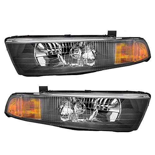 Driver and Passenger Headlights Headlamps Replacement for 02-03 Mitsubishi Galant MR972843 MR972844 AutoAndArt