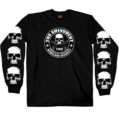 Hot Leathers Men's 2nd Amendment Long Sleeve Shirt (Black, Large) ()