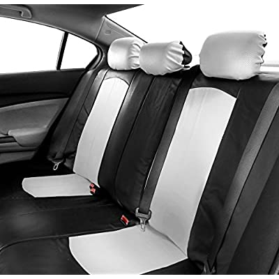 FH Group PU008115 Highest Grade Faux Leather Seat Covers (White) Full Set with Gift - Universal Fit: Automotive