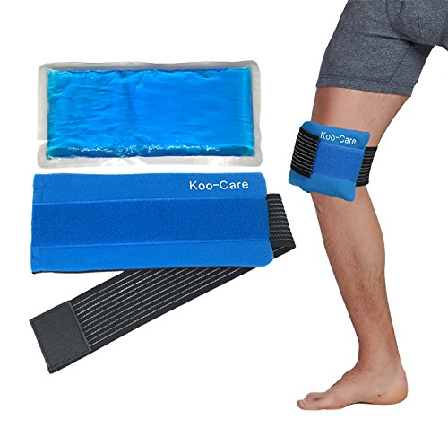 Koo-Care Flexible Gel Ice Pack & Wrap with Elastic Strap for Hot Cold Therapy - Great for Migraine Relief, Sprains, Muscle Pain, Bruises, Injuries (Head, Neck, Arm, Elbow, Knee, Ankle)