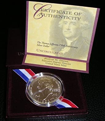 1993 Uncirculated Thomas Jefferson 250th Anniversary Silver Dollar
