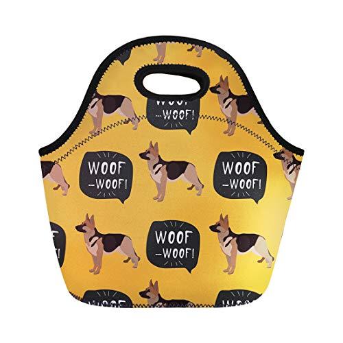 Semtomn Neoprene Lunch Tote Bag Animal Dog German Shepherd Colorful Woof Black Breed Bulldog Reusable Cooler Bags Insulated Thermal Picnic Handbag for Travel,School,Outdoors,Work