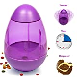 An Interactive IQ Treat Ball with Timer A Travel Dog Bowl with Food Dispensing for Pet Max Capacity of 1 liter DT2016 (Purple)