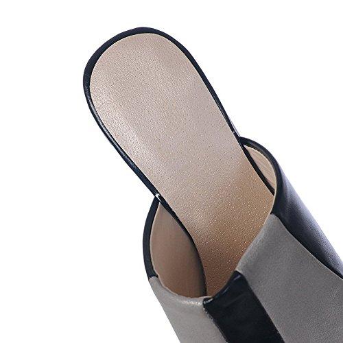 Pantofole In Pelle Imitato Nero Antiscivolo Balamasa Per Donna