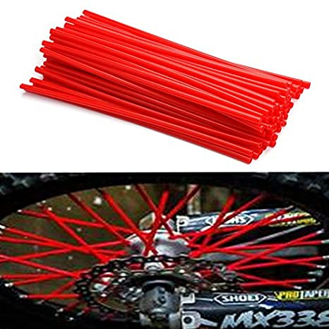 Homyl 72pcs Wheel Spoke Wraps Skins Trim Cover Pipe Pit Dirt Bike Yellow Red Kit