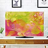 LCD TV dust Cover Strong Durability,Pastel,Nature Inspired Watercolor Paintbrush Spring Yard Psychedelic Artwork Decorative,Pink Apple Green Marigold,Picture Print Design Compatible 32'' TV