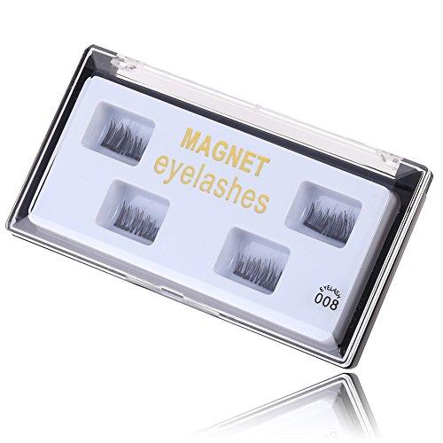 Glamorous Magnetic False Eyelashes, 1 Pairs (4pcs) Ultra Thin 3D Fiber Reusable Fake Lashes Extension for Natural (Easy Halloween Crafts Third Grade)