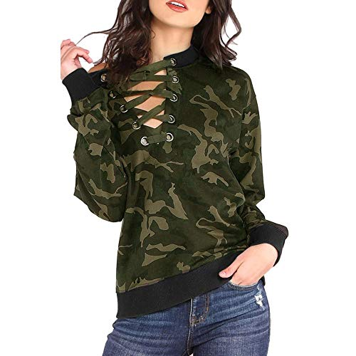 HGWXX7 Womens Tops Long Sleeve Fashion Camouflage V-Neck Bandage T-shirt Blouse(L,Camouflage)