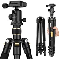 K&F Concept 62 DSLR Tripod, Lightweight and Compact Aluminum Camera Tripod with 360 Panorama Ball Head Quick Release Plate for travel and work ( TM2324 Black )