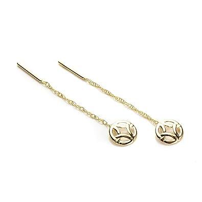9ct Yellow Gold Celtic Pull Thru Earrings/Studs IdqQSA