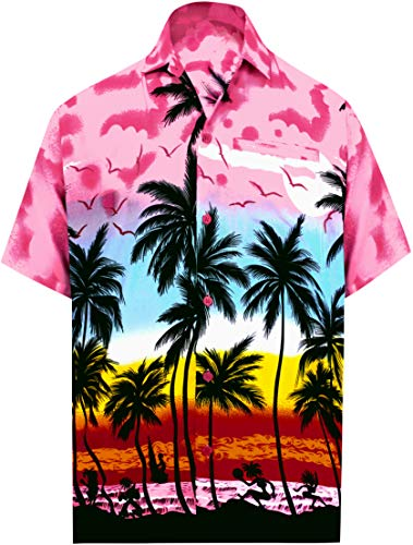 - LEELA Likre Vacation Camp Dress Party Shirt Pink 274 XL | Chest 48