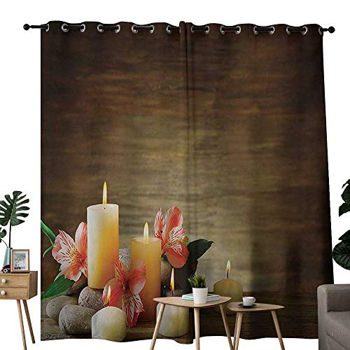 (NUOMANAN Blackout Curtains for Bedroom Spa,Spa Composition with Many Candles Wellbeing Unity Neutrality Icons Calm Happiness Theme,Multicolor,Darkening Grommet Window Curtain-Set of 2 120