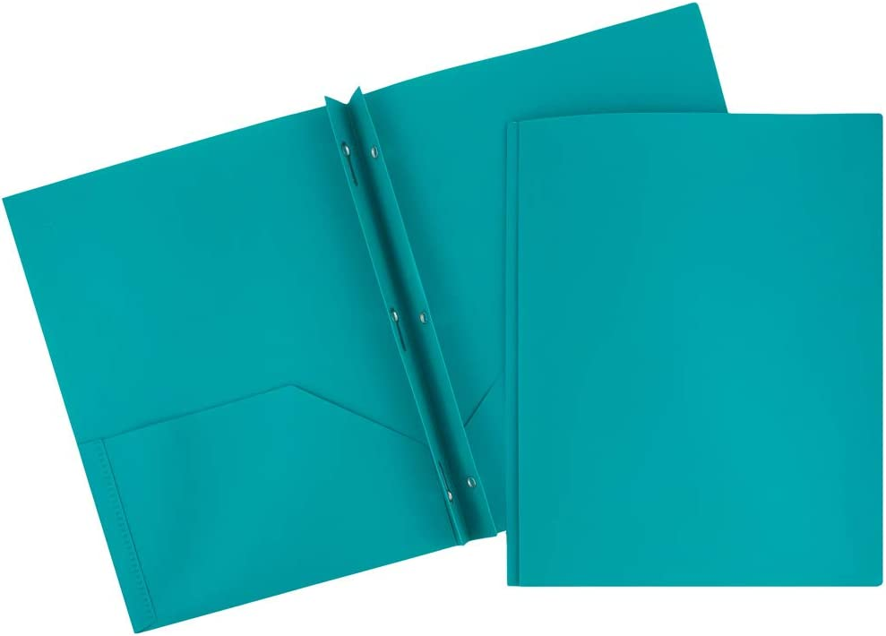 JAM Paper Plastic Eco 2 Pocket Presentation Folder w// Clasps Blue Lot of 18
