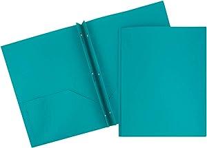JAM PAPER Plastic 2 Pocket School POP Folders with Metal Prongs Fastener Clasps - Teal Blue - 6/Pack