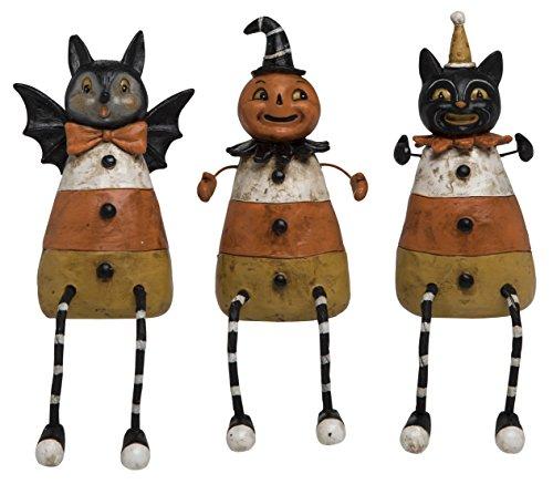 Johanna Parker Resin Halloween Candy Corn Shelf Sitters - Bat, Pumpkin and Black Cat -