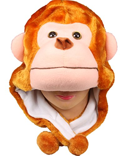 Choose From Over 25 Animals! - Plush Faux Fur Animal Critter Hat Cap - Soft Warm Winter Headwear - Short with Ear Poms and Flaps & Long with Scarf and Mittens Available (Short Monkey)
