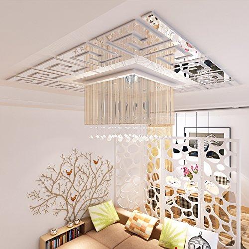 Loterong Acryl Spiegel Three Dimensional Wandaufklebern Wohnzimmer Schlafzimmer Decke Dach Dekoration Baseboard Taille Stick Jm001 Silber
