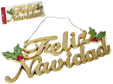 Feliz Navidad Rotulos.Gerimport Letrero Feliz Navidad 24x46cm Oro