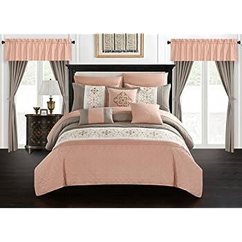 Madison Park Amherst Elegant Stylish Premium Quality Coral, 7 Piece King Size Comforter Set , 1 comforter, 2 shams, 1 bedskirt, and 3 decorative pillows best