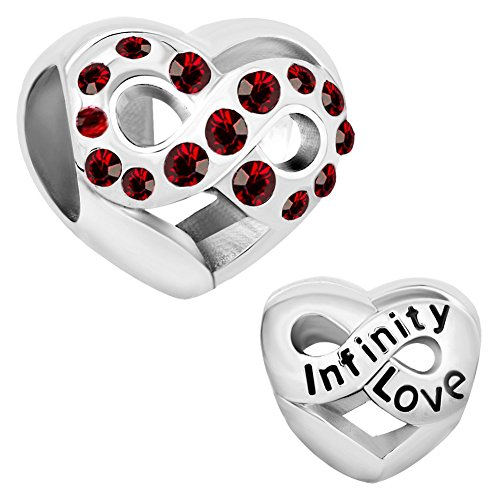 (Cherris Birthday Charms Heart Infinity Love Birthstone Charms Beads for Snake Chain Bracelets)