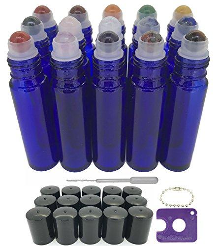 Blend Aromatherapy Balancing (Got Oil Supplies 15 Gemstone Roller Bottles for Essential Oils - Chakra Set - Amethyst, Sodalite, Lapis Lazuli, Green Aventurine, Tigers Eye, Carnelian, Red Jasper & Clear Quartz (Blue))
