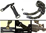 Ultimate Arms Gear IDF Israeli Defense Forces Pair of Slip On Black Loop Adapter Attachment with D-Ring + Sling, OD Olive Drab Green For ATI German Sports Gun GSG5 GSG-5 MP5 Savage Axis 99