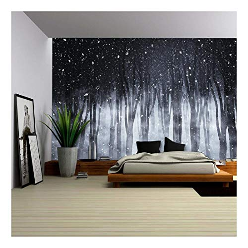 wall26-3D Render of a Spooky Foggy Forest on a Snowy Night - Removable Wall Mural | Self-Adhesive Large Wallpaper - 100x144 inches]()