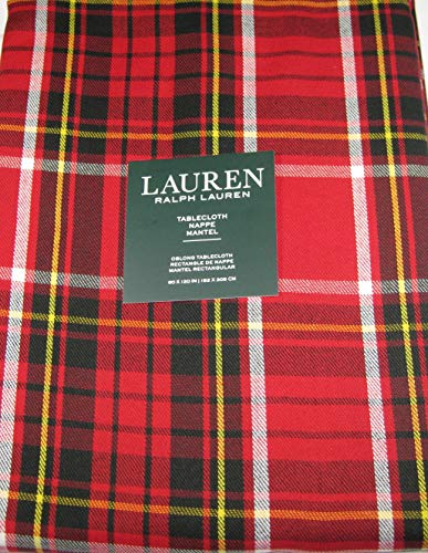 Ralph Lauren Gretchen Tartan Plaid Tablecloth Red 60 x 120