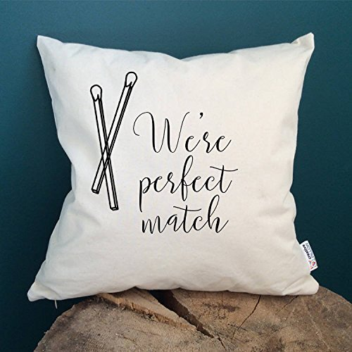 Cute Quotes gifts Perfect match gifts Typography pillow Text gifts Saying gifts Home decor Throw pillow Cushion cover Decorative pillow, 16x16 inch, gift