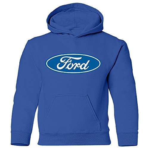 Amazing Items Ford Blue Oval Logo Unisex Youth Hoodie, X-Small, Royal Blue (Ford Items)